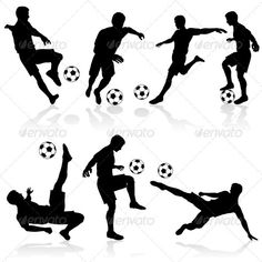Buy Silhouettes of Football Players by -TAlex- on GraphicRiver. Set of Silhouettes of Soccer Players in various Poses with the Ball Soccer Birthday Cakes, Football Birthday, Soccer Party, Football Soccer, Soccer Ball, Football Cakes, Football Tattoo, Football Silhouette, Silhouette S