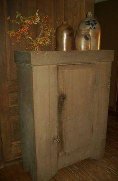 Primitive Cabinets, Primitive Furniture, Primitive Antiques, Country Primitive, Rustic Furniture, Vintage Antiques, Primitive Decor, Furniture Ideas, Antique Crocks