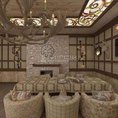 Каминный зал в стиле шале. Использование жаккардовых тканей в декоре