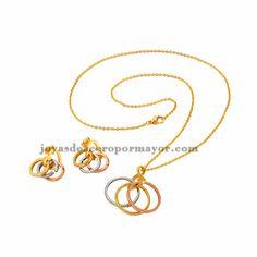 juego de joyas de collar y arete en dorado de acero inoxidable -SSNEG26823