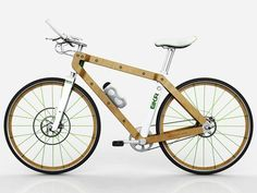 Beautiful mountain bike design features wood frame, built-in energy generator