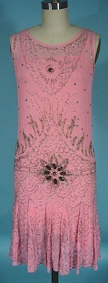 1926 Pink Chiffon Beaded Flapper Dress with Original Pink Slip! Great Gatsby Dress!