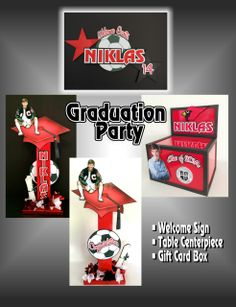 Ideas for a great graduation party. Sign, centerpiece and a gift card box. #partydecor #graduation