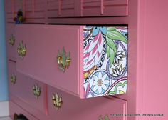 pink dresser outside lined drawers paper by Meredith and The New Yorkie Easy and Thrifty DIY Furniture Makeover roundup by The DIY Homegirl