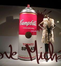 ''I love Michael Kors'' Window Display at Printemps in Paris: Michael Kors & Campbell's Soup Spray Paint