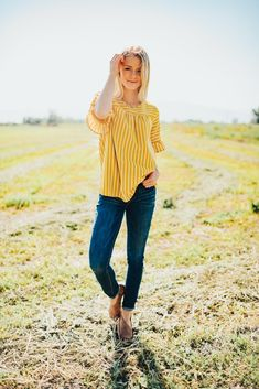 Mustard and Ivory Striped Top Rounded Neckline Bell Sleeve Polyester Spandex Lemon Top, Diva Fashion, Photo Shoot, What To Wear, Bell Sleeves, Couple Photos, Pretty, Outfits, Shopping