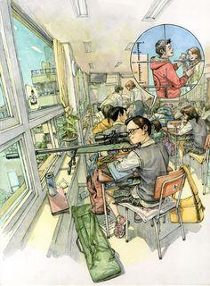 Ким Джунги изЮжной Кореи ненужны наброски, чтобы сневероятной скоростью создавать огромные детализированные рисунки.