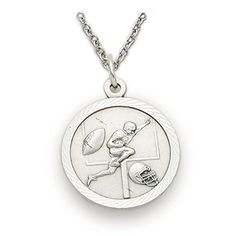 Sterling Silver Football Sports Medal with Christ Cross Back 34 Inch ** You can find more details by visiting the image link.