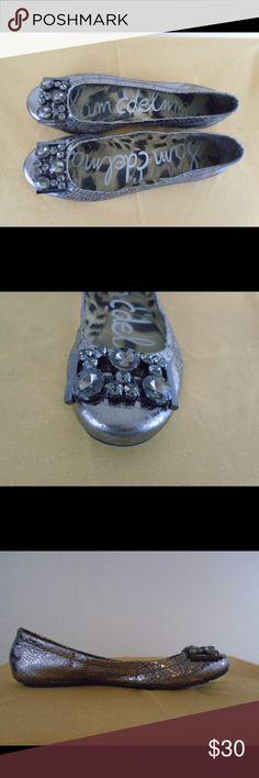 Sam Edelman Pewter Jeweled Ballet Flats Sam Edelman Womens Caper Metallic Pewter Jeweled Ballet Flats Sam Edelman Shoes Flats & Loafers