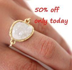 Druzy white ring 14kt gold filled  custom size by anthology27