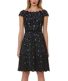 Another great find on #zulily! Black & Denim Laser-Cut A-Line Dress #zulilyfinds