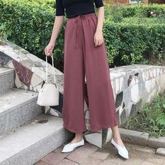 #Spring #AdoreWe #YesStyle - #Shopherd Cropped Wide-Leg Pants - AdoreWe.com Abaya Fashion, Modest Fashion, Abaya Style, Drown, Hijab Outfit, Modest Outfits, Wide Leg Pants, Fashion Inspiration, Ootd