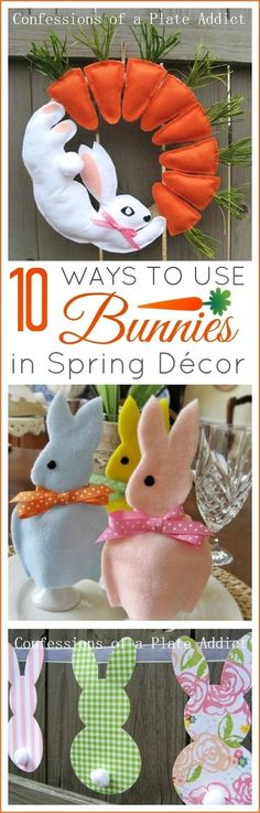 Ten Fun Ways to Add Bunnies to Your Spring Décor Diy Projects Easter, Spring Projects, Easter Crafts, Felt Crafts, Craft Projects, Diy Crafts, Easter Ideas, Craft Ideas, Paint Chip Cards