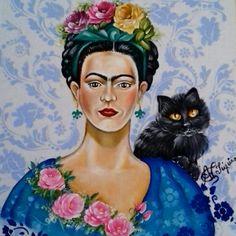 Frida Khalo Pintura em tecido de Ana Paula Campos Teixeira