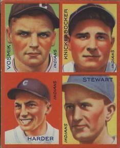 1935 Goudey 4-in-1 (R321) #33 Mel Harder /  Bill Knickerbocker /  Lefty Stewart /  Joe Vosmik Front