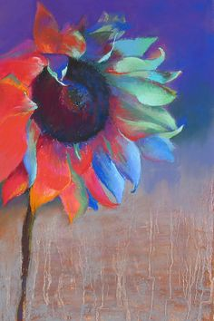 Fire and Ice, Pastel, 17x11, $150. Hot vivid red and orange contrast with cool blues and greens, the sunflower in a different way.