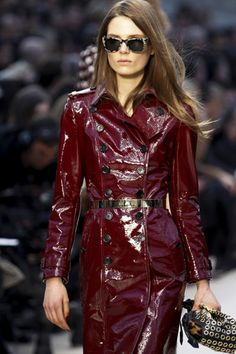 A glossy look from Christopher Bailey's Trench Kisses collection for Burberry Prorsum.