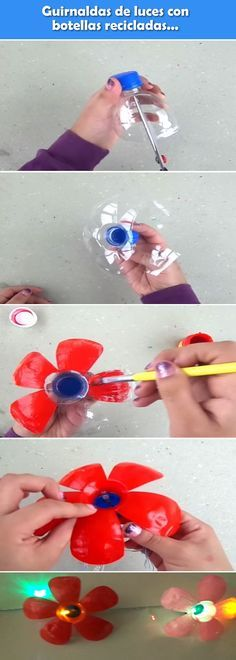 ✩ Check out this list of creative present ideas for beginners and freaks who are into fitness Plastic Bottle Tops, Plastic Bottle Flowers, Plastic Bottle Crafts, Bottle Cap Crafts, Recycle Plastic Bottles, Recycled Bottles, Recycled Crafts, Diy And Crafts, Crafts For Kids