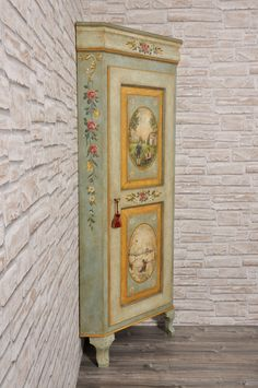 Hand decorated single leaf door corner unit with 2 polychrome seasons Painted Armoire, Painted Cupboards, Decoupage Furniture, Paint Furniture, Corner Unit, Hand Shapes, Mortise And Tenon, Tole Painting, Window Design