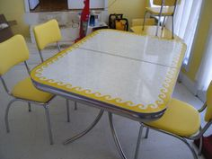 Vintage yellow Formica wave table