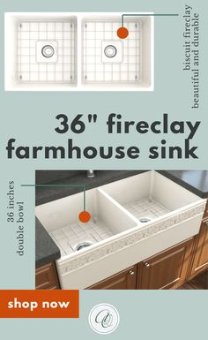 BOCCHI Biscuit 36 Inch Fireclay Sinks brings the most popular farmhouse sink material to your kitchen. This 36-inch large fireclay sink has a distinctive farmhouse apron that is finished on all four sides - Reversible install.  This fireclay sink will be an elegant focal point in your kitchen. The 36-inch large double bowl kitchen sink in biscuit looks great with brown or any colorful cabinets. Extreme resistance to chip, discoloration, scratching and cracking. #biscuitsink www.annieandoak.com Fireclay Farmhouse Sink, Fireclay Sink, Farmhouse Sink Kitchen, Kitchen Sinks, Shabby Chic Kitchen, Kitchen Countertops, Country Kitchen, French Country Farmhouse, Rustic Farmhouse