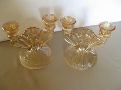 Vintage Jeannette Glass Iris and Herringbone Double Candle Holders USA #teamsellit