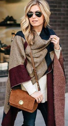 #winter #fashion /  Brown Printed Cape / Cream Knit / Brown Shoulder Bag
