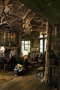 Unique Natural-Themed House from Ancient Time Exotic Living Room Rustic Furnitu&; Unique Natural-Themed House from Ancient Time Exotic Living Room Rustic Furnitu&; Beautiful House İn The Woods Beautiful House […] living room themes Fantasy Rooms, Fantasy House, Fantasy City, Fantasy Forest, Fantasy Castle, Fantasy Artwork, Dark Fantasy, Witch Cottage, Witch House