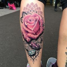 Amazing artist Ryan Smith @ryansmithtattooist color pink realistic rose with jewels leg tattoo! ...