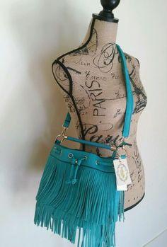 NWT Fringe Messenger Crossbody Turquoise Drawstring Converts To Shoulder Bag  #SP #MessengerCrossBody