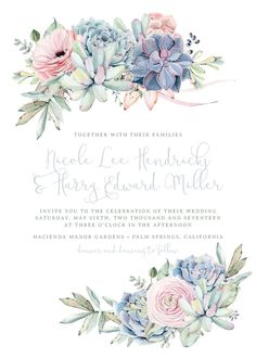 Sweet succulent wedding invitation, succulent wedding, pastel floral wedding in . Succulent Wedding Invitations, Reception Invitations, Blush Wedding Invitations, Vintage Wedding Invitations, Vintage Wedding Theme, Arte Floral, Floral Invitation, Invitation Envelopes, Wedding Cards