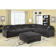 Wildon Home ® Bromley Velvet Sectional - grey velvet couch on Wayfair.com
