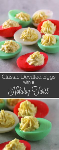Classic Devilled Eggs Recipe With a Holiday Twist Raise you hand if you adore a good devilled eggs recipe like I do! If you invite me to your Christmas pot luck, I can predict you'll find me at the food table, smack next to the devilled eggs. Best Christmas Appetizers, Christmas Eve Dinner, Christmas Party Food, Xmas Food, Christmas Cooking, Holiday Parties, Christmas Menu Ideas, Christmas Apps, Christmas Holiday