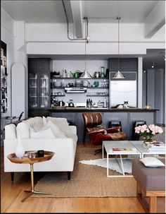 Mads's open-plan living room/kitchen.