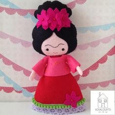 This doll will make a beautiful gift to anyone who loves art and appreciate Frida Kahlos art work.   She is entirely hand sewn from high quality wool blend felt and she measures about 9 inches (23cm) tall.  Her red dress has purple and green trimmings and a dark pink top with yellow embroidered flowers on. If desired we can make her in other color combinations..! Frida wouldnt be Frida without beautiful flowers in her hair..!   ~Please always keep out of babys reach, as this is not a toy…