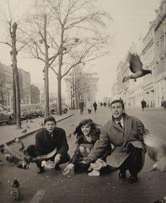 "Roman Polanski with his wife Barbara Kwiatkowska (Lass) and Jean-Louis Trintignant (Barbara's film partner) in Paris – January 1960. Roman Polanski accompanied Barbara on the set of ""The Thousandth Window"" (her first foreign movie). © Bernard Lipnitzki"