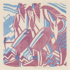 Leonard Beaumont, Climbers, c1931, linocut. Photo © Museums Sheffield by Museums Sheffield, via Flickr