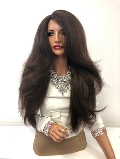 """Dark Brown Balayage Volume Thick Long Hair Lace Front Wig 26"""" Chaka 01 – Aeshaper® 