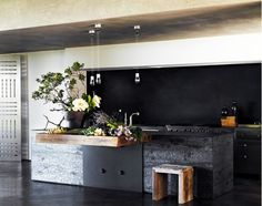Minimal kitchen with wood counters