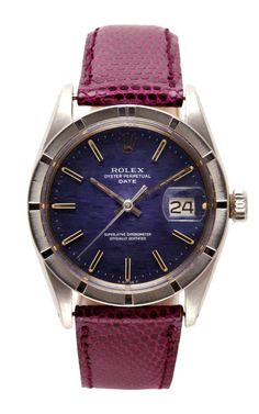Shop Rolex Stainless Steel Date With Blue Linen Dial And Engine-Turn Bezel by CMT Fine Watch and Jewelry Advisors for Preorder on Moda Operandi