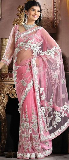 #Pink Net #Saree With Blouse @ $1032.85 | Shop @ http://www.utsavfashion.com/store/sarees-large.aspx?icode=ssk5013