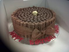 Flake cake with maltesers on the top.