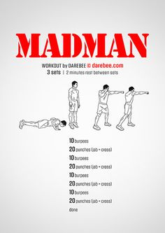 Madman is the kind of workout that you need a tad of madness to totally, truly, enjoy. Gym Workout Chart, Full Body Workout Routine, Man Workout, Weight Routine, Calisthenics Workout, Kickboxing Workout, Cardio Boxing, Dumbbell Workout, Fit Board Workouts