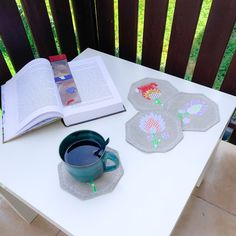 Linen cup coasters with an embroidered application. Double-sided, set of 4. Cup Coaster, Letter Form, Bank Holiday, Drink Coasters, Embroidered Flowers, Machine Embroidery, Shapes, Sewing, Create