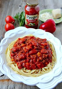 Do you have picky eaters? Your kids won't say no to this delicious pasta dish - it's got hot dogs and spaghetti! Beef and Franks Spaghetti Meal - ready in 30 minutes! #ad