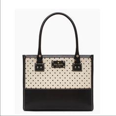 "NWOT Kate Spade New York Belltown Quinn Handbag NWOT Kate Spade New York Belltown Quinn Handbag. Natural/Black. Leather w/ polka dot canvas. Handle w/ 7""drop. MSVP $328.00 12"" W 9.5"" H 4.5"" D kate spade Bags"