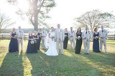 Rustic, Southern Wedding; Farm Wedding; Fall Wedding; Navy Bridesmaids; Khaki Suits; Oak Level Farm; Bridal Party