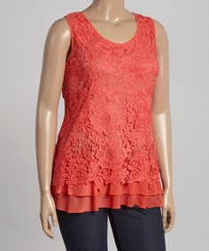 Look what I found on #zulily! Coral Lace Sleeveless Top - Plus by Simply Irresistible #zulilyfinds