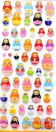 I just love these Super kawaii colorful Matryoshka stickers.