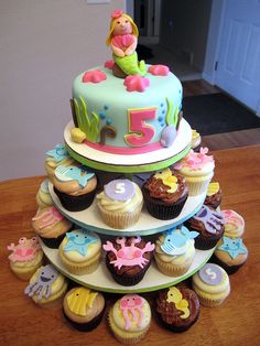 Under the Sea Birthday Cupcake Tower and Cake